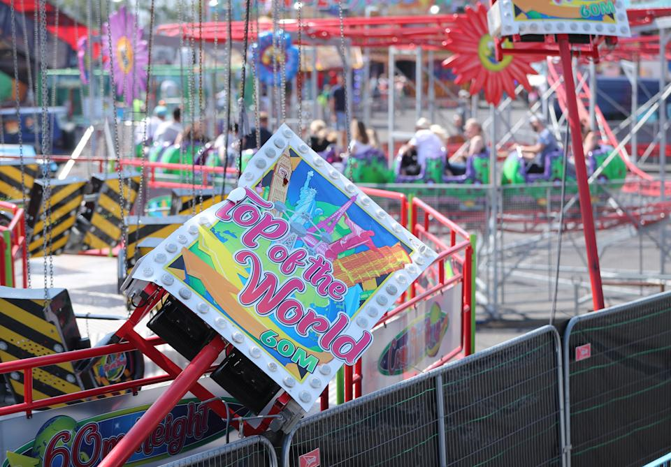 The Star Flyer funfair ride at Planet Fun in Carrickfergus, Co Antrim, which collapsed on Saturday evening, injuring six people. Picture date: Sunday July 25, 2021. (Photo by Niall Carson/PA Images via Getty Images)