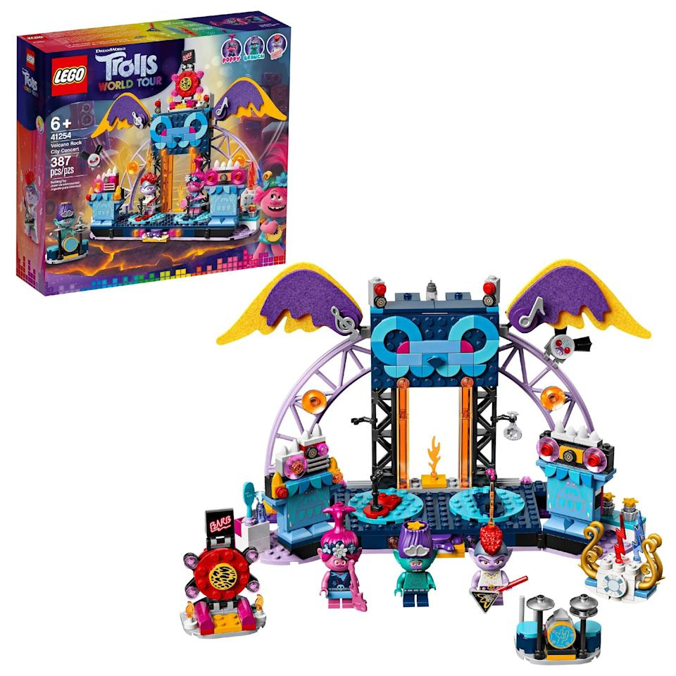 <p>The <span>Lego Trolls World Tour Volcano Rock City Concert Set</span> ($40) has 387 pieces and is best suited for kids ages 6 and up.</p>