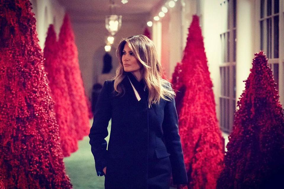 First Lady Melania Trump in the White House decorated for Christmas in 2018 | FLOTUS/Twitter