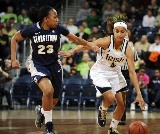 Notre Dame guard Skylar Diggins, right, drives upcourt as Georgetown guard Samisha Powell defends during the first half of an NCAA college basketball game, Tuesday, Jan. 15, 2013, in South Bend, Ind. (AP Photo/Joe Raymond)