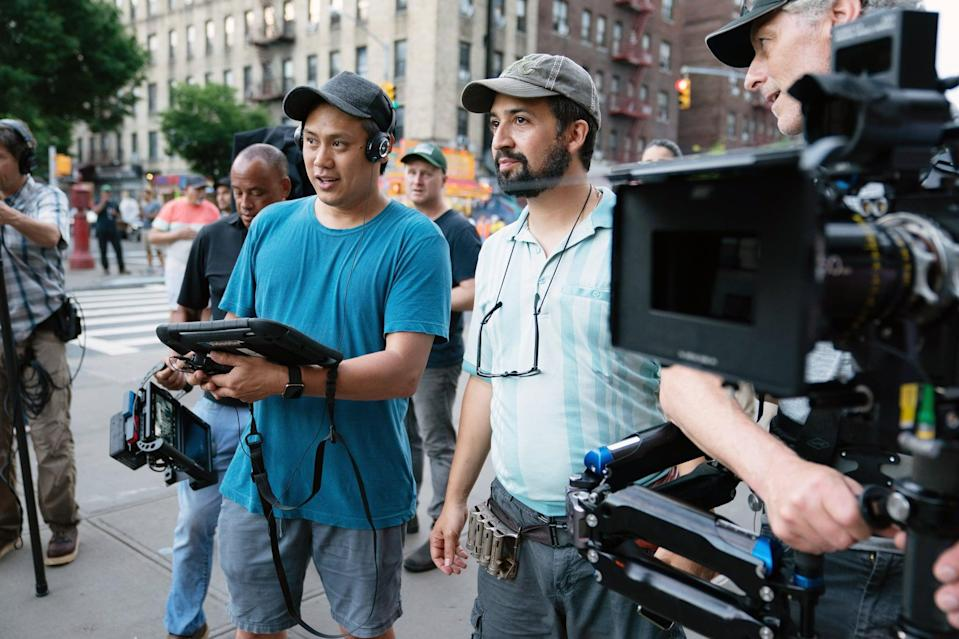 IN THE HEIGHTS, from left: director Jon M. Chu, Lin-Manuel Miranda, on set, 2021.  ph: Macall Polay / Warner Bros. / courtesy Everett Collection
