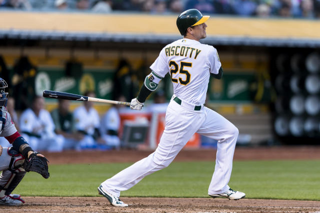 Stephen Piscotty's mother Gretchen was diagnosed with ALS in May 2017, and died on Sunday at age 55. Piscotty was traded from the Cardinals to the Athletics so he could be closer to her. (AP Photo/John Hefti)