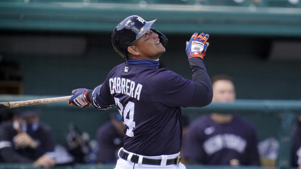 Detroit Tigers' Miguel Cabrera singles to right field off New York Yankees starting pitcher Deivi Garcia during the second inning of a spring training exhibition baseball game at Joker Marchant Stadium in Lakeland, Fla., Tuesday, March 9, 2021. (AP Photo/Gene J. Puskar