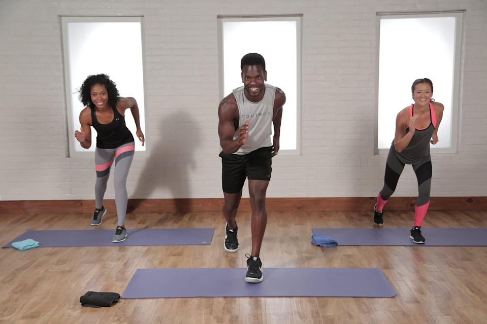 """<p><strong>Equipment needed:</strong> none</p> <p>This cardio and sculpting <a href=""""https://www.popsugar.com/fitness/30-Minute-Tabata-Workout-42878500"""" class=""""link rapid-noclick-resp"""" rel=""""nofollow noopener"""" target=""""_blank"""" data-ylk=""""slk:30-minute workout"""">30-minute workout</a> from Tabata instructor Raneir Pollard alternates between 20 seconds of intense bursts of work and 10 seconds of rest in four-minute rounds.</p>"""