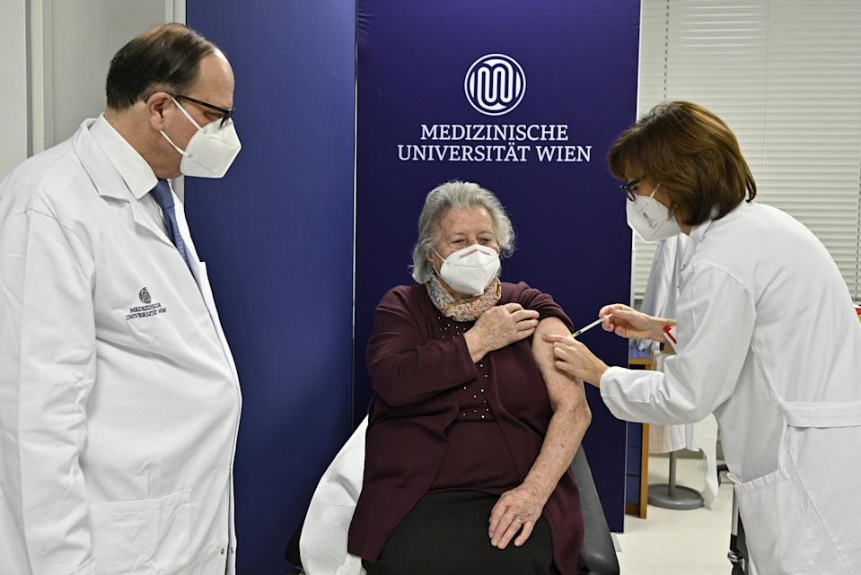 VIENNA, AUSTRIA - DECEMBER 27: A woman gets vaccinated against Coronavirus (Covid-19) pandemic in Vienna, Austria on December 27, 2020. (Photo by APA/Pool/Anadolu Agency via Getty Images)
