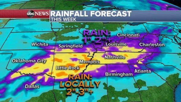 PHOTO: Very heavy rain also possible in the southern Plains and into the Tennessee Valley where locally 2 to as much as 4 inches is possible through the rest of the week. (ABC News)
