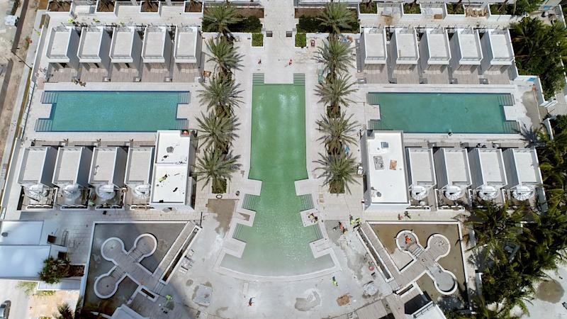 An aerial view of some of the building's pools.