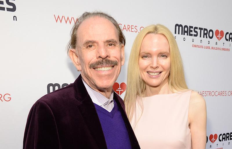 A photo of Peter Max and wife Mary Max in New York City in 2017.