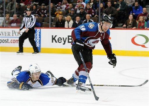 Colorad Avalanche left wing TJ Galiardi, right, skates past St. Louis Blues defenseman Kevin Shattenkirk, left, in the first period of an NHL hockey game on Wednesday, Dec. 21, 2011, in Denver. (AP Photo/Chris Schneider)