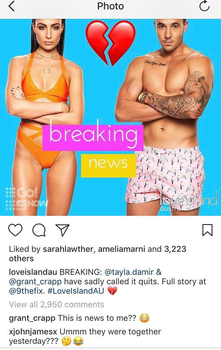 Grant Crapp has now spectacularly revealed that Tayla Damir's interview with The Fix revealing the news of their split was the first he had heard of it. Photo: Instagram/Loveislandau