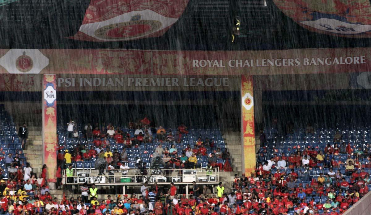 Heavy rains delay the start of the match 70 of the Pepsi Indian Premier League between The Royal Challengers Bangalore and The Chennai Super Kings held at the M. Chinnaswamy Stadium, Bengaluru  on the 18th May 2013. (BCCI)