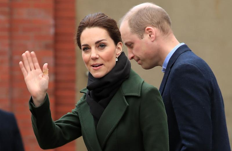 Britain's Prince William, Duke of Cambridge (R) and his wife Britain's Catherine, Duchess of Cambridge leave after a visit to Kirby Road in in Blackpool, north-west England on March 6, 2019, to see the realities of the housing problem faced in the town. (Photo by Peter Byrne / POOL / AFP) (Photo credit should read PETER BYRNE/AFP via Getty Images)