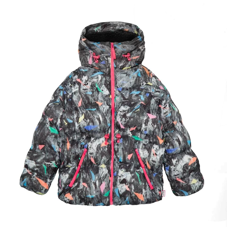 "$250, Hunter. <a href=""https://www.hunterboots.com/us/en_us/womens-outerwear/womens-original-printed-a-line-puffer-jacket/grey/6167"">Get it now!</a>"