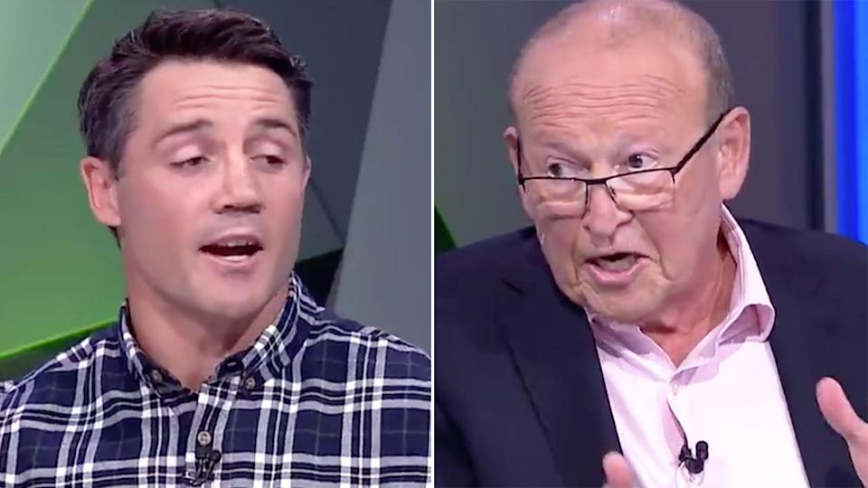 Pictured here, Cooper Cronk and Phil Rothfield engage in a fiery argument on Fox Sports' NRL 360.