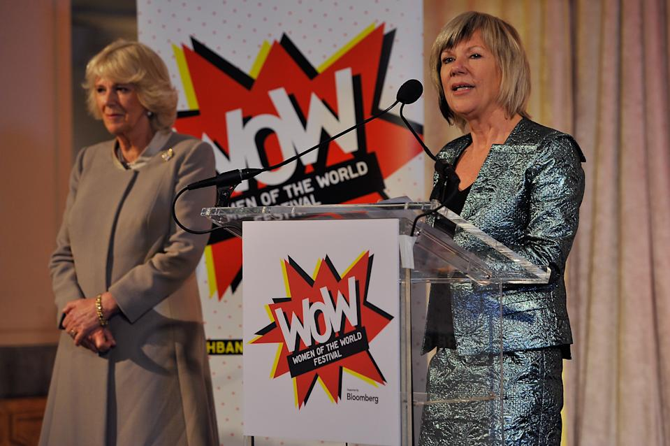 WASHINGTON, DC - MARCH 19:  Jude Kelly, (R), Artistic Director of London's Southbank Centre, speaksÊat a reception of well known women leaders from around the USA while Camilla, Duchess of CornwallÊlooks on at the National Museum of Women in the Arts for the US launch of WOW - Women of the World Festival, a global festival founded by London's Southbank Centre celebrating women and girls on March 19, 2015 in Washington, DC. The Prince and Duchess are in Washington as part of a four day tour of the United States.  (Photo by Larry French/Getty Images)