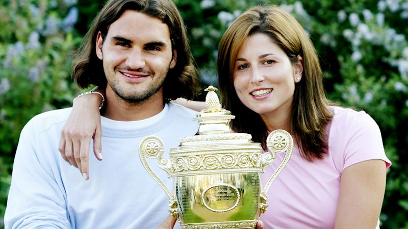 Roger Federer and Mirka, pictured here celebrating his triumph at Wimbledon in 2003.