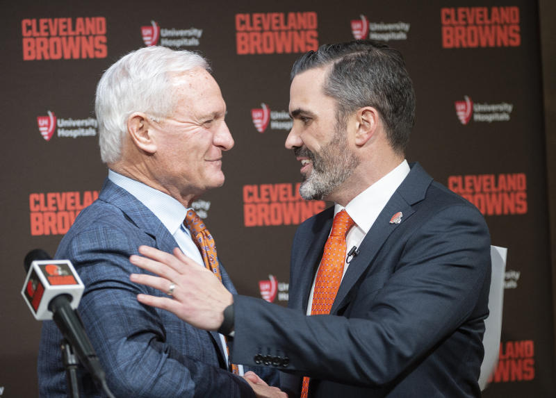 Cleveland Browns NFL football team owner Jimmy Haslam greets new head coach Kevin Stefanski before a news conference at FirstEnergy Stadium in Cleveland, Tuesday, Jan. 14, 2020. (AP Photo/Phil Long)