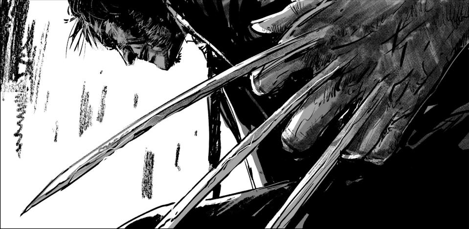 """<p>Lest anyone think Hugh Jackman's post-apocalyptic Wolverine wasn't going to be a killing machine anymore, this low-angled storyboard image by Gabriel Hardman confirms he'll be engaged in plenty of adamantium-clawed action. (Photo: <a rel=""""nofollow noopener"""" href=""""https://twitter.com/mang0ld"""" target=""""_blank"""" data-ylk=""""slk:mang0ld/Twitter)"""" class=""""link rapid-noclick-resp"""">mang0ld/Twitter)</a> </p>  <p> Director James Mangold shared this black-and-white snapshot of the plains set beneath an imposing sky, captioned """"Open"""" — more evidence of a rough, hardscrabble Western vibe that will define this world-without-mutants tale. (Photo: <a rel=""""nofollow noopener"""" href=""""https://www.instagram.com/p/BMOwJ7hjyl_/"""" target=""""_blank"""" data-ylk=""""slk:wponx/Instagram"""" class=""""link rapid-noclick-resp"""">wponx/Instagram</a>) </p>  <p>Logan</p><p> In 'Logan,' Hugh Jackman's Wolverine has become a weathered desert desperado with a diminished healing factor, but despite his beaten-and-bruised body, director James Mangold's mirror-image photo of the mutant — boasting his usual chiseled muscles — proves the actor's gym-rat preparation for the role hasn't changed. (Photo: <a rel=""""nofollow noopener"""" href=""""https://twitter.com/mang0ld?ref_src=twsrc%5Etfw"""" target=""""_blank"""" data-ylk=""""slk:@mang0ld"""" class=""""link rapid-noclick-resp"""">@mang0ld</a>/Twitter) </p>  <p>Meet X-23</p><p> The caption """"Laura"""" on this Instagram image is a pretty clear sign Dafne Keen's role in 'Logan' is as Laura Kinney, a.k.a X-23, a mutant introduced by Marvel in 2004. When Professor X tells Logan """"She's like you. Very much like you,"""" in the film's trailer, he's hinting at her comic-book origins: She's a female clone of Wolverine, from a re-creation of the Weapon X experiment that gave him his retractable claws and regenerative healing powers. (Photo: <a rel=""""nofollow noopener"""" href=""""https://www.instagram.com/p/BL6JykqDeSC/"""" target=""""_blank"""" data-ylk=""""slk:wponx"""" class=""""link rapid-noclick-resp"""">wponx</a>/Instagram) </p>  <p>Dogtag,"""