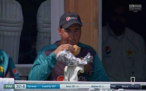 Mickey Arthur with an isotonic sandwich - Credit: Sky