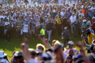 Phil Mickelson walks up the 18th fairway during the final round at the PGA Championship golf tournament on the Ocean Course, Sunday, May 23, 2021, in Kiawah Island, S.C. Mickelson won the match. (AP Photo/Chris Carlson)