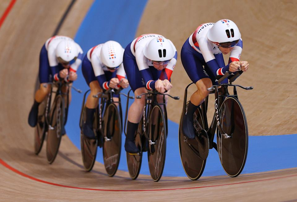 Laura Kenny and teammates during the women's sprint (Getty Images)