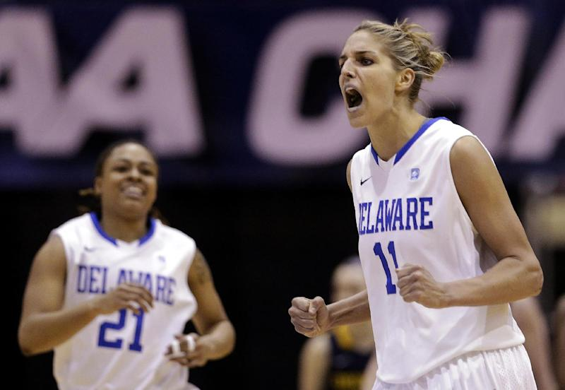 Delaware forward Elena Delle Donne, right, and guard Trumae Lucas react after Delle Donne scored and Drexel called a timeout during the second half of an NCAA college basketball game in the championship of the Colonial Athletic Association conference tournament in Upper Marlboro, Md., Sunday, March 17, 2013. Delle Donne scored a game-high 28 points to lead Delaware's 59-56 win. (AP Photo/Patrick Semansky)