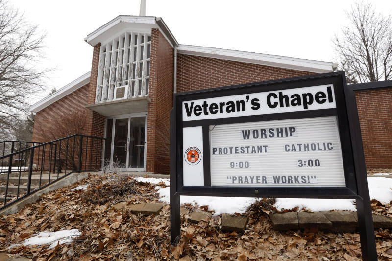 FILE - In this March 12, 2019 file photo, the Veteran's Chapel sits closed on the Veterans Affairs campus, in Knoxville, Iowa. After watching for more than a decade as a once busy Veterans Affairs campus deteriorated into a sprawling ghost town, leaders of a small Iowa city announced plans to take control of the property and likely demolish most of the structures. City and county officials signed documents Wednesday, Jan. 15, 2020, taking ownership of the 153-acre property. (AP Photo/Charlie Neibergall, File)