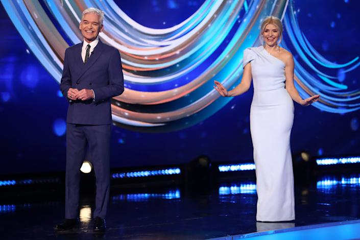Editorial use only  Mandatory Credit: Photo by Matt Frost/ITV/Shutterstock (11747857e)  Phillip Schofield and Holly Willoughby  'Dancing On Ice' TV show, Series 13, Episode 4, Hertfordshire, UK - 07 Feb 2021