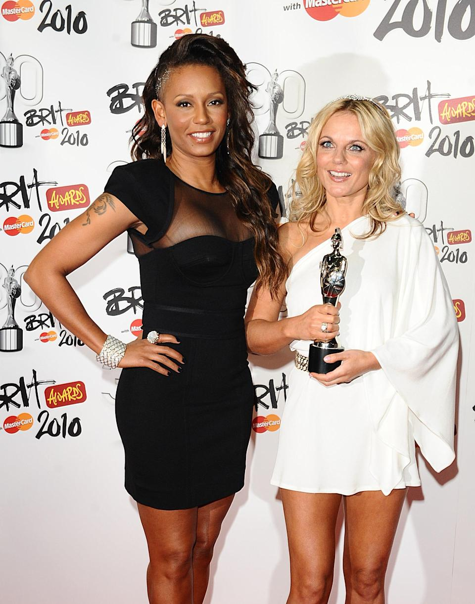 File photo dated 16/2/2010 of Melanie Brown and Geri Horner as Mel B has claimed she had a one-night stand with her fellow Spice Girl.