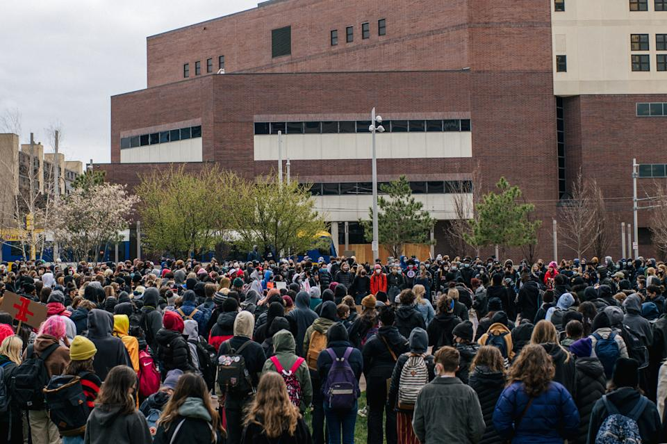 High school students from across Minneapolis participated in a statewide walkout.