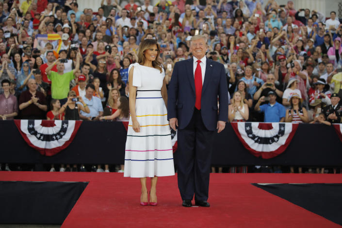 President Donald Trump and first lady Melania Trump arrive at an Independence Day celebration in front of the Lincoln Memorial, July 4, 2019, in Washington. (Photo: Carolyn Kaster/AP)