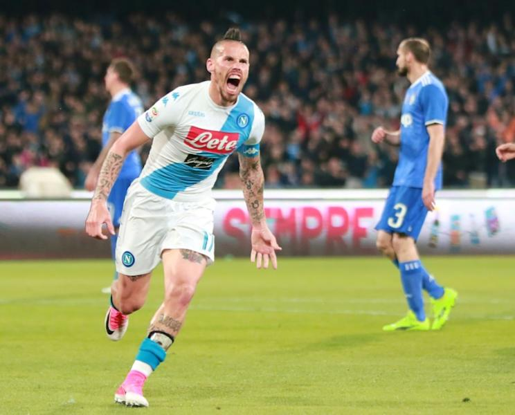 Napoli's midfielder Marek Hamsik celebrates after scoring against Juventus on April 2, 2017 at the San Paolo Stadium