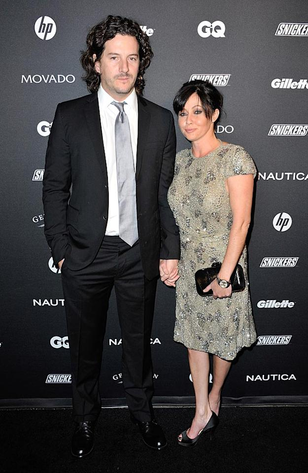 """Talk about a blast from the past! Former """"Beverly Hills, 90210"""" actress Shannen Doherty cozied up to her honey, Kurt Iswarienko. The brunette wore an embellished frock with a low-cut back, peep-toe shoes, and a simple updo. D Dipasupil/<a href=""""http://www.filmmagic.com/"""" target=""""new"""">FilmMagic.com</a> - October 27, 2010"""