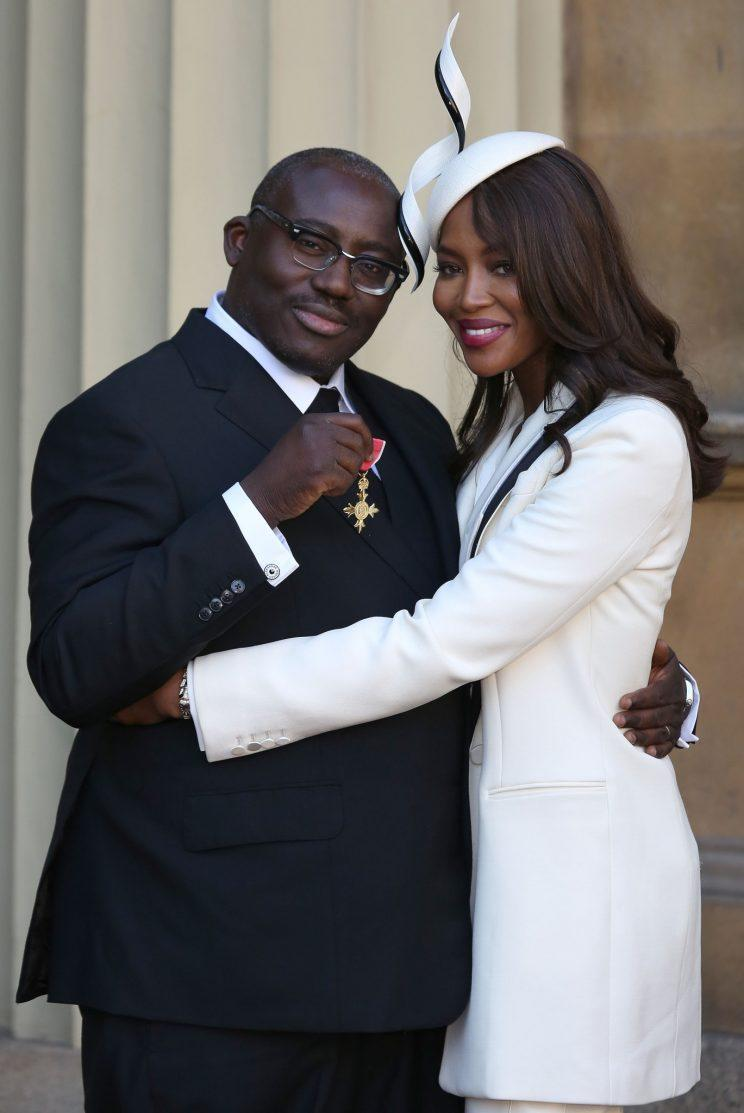 <i>Best friend Naomi Campbell accompanied him to receive an OBE in 2016 [Photo: Getty]</i>