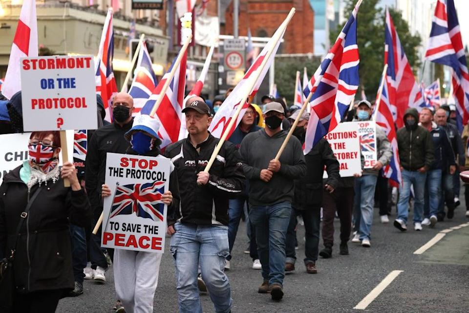 Loyalists in Northern Ireland are campaigning for the scrapping of the protocol (Peter Morrison/PA) (PA Wire)