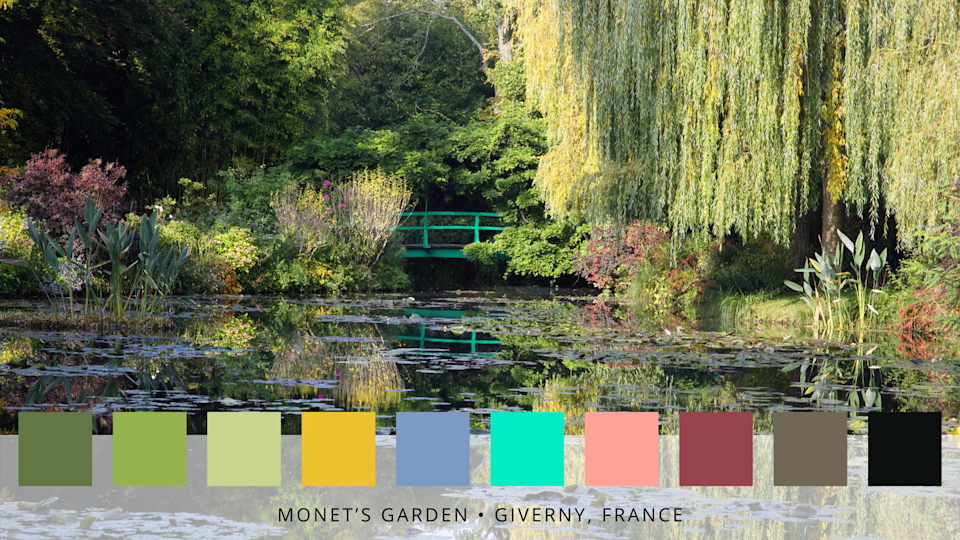 <p>Claude Monet's iconic garden — a Japanese-inspired water space — is famous for its mesmerising pond and serene lilies.</p><p>'When designing the garden, he is said to have not liked the organisation of constrained gardens, instead of arranging flowers according to their colours and letting them grow freely,' say Roofing Megastore. </p>