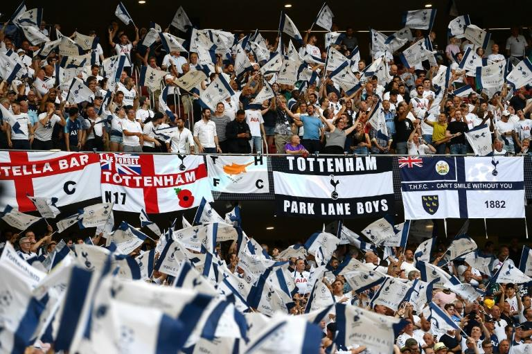 Tottenham Hotspur fans cheer their team before the UEFA Champions League final football match against Liverpool in Madrid in June 2019