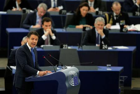 Italy's Prime Minister Giuseppe Conte addresses the European Parliament during a debate on the future of Europe in Strasbourg, France, February 12, 2019. REUTERS/Vincent Kessler