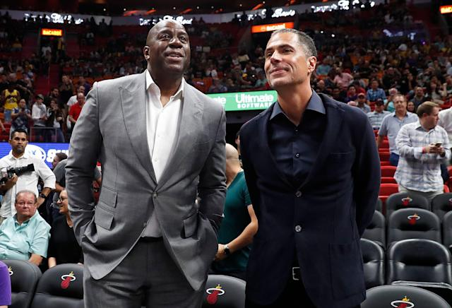 Los Angeles Lakers general manager Rob Pelinka said Magic Johnson's accusations of 'backstabbing' are 'simply not true.' (AP Photo/Brynn Anderson)
