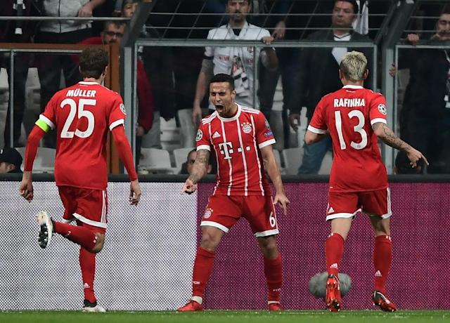 Thiago Alcantara netted the opener in Turkey as Bayern cruised into the quarter-finals of the Champions League (AFP Photo/OZAN KOSE)