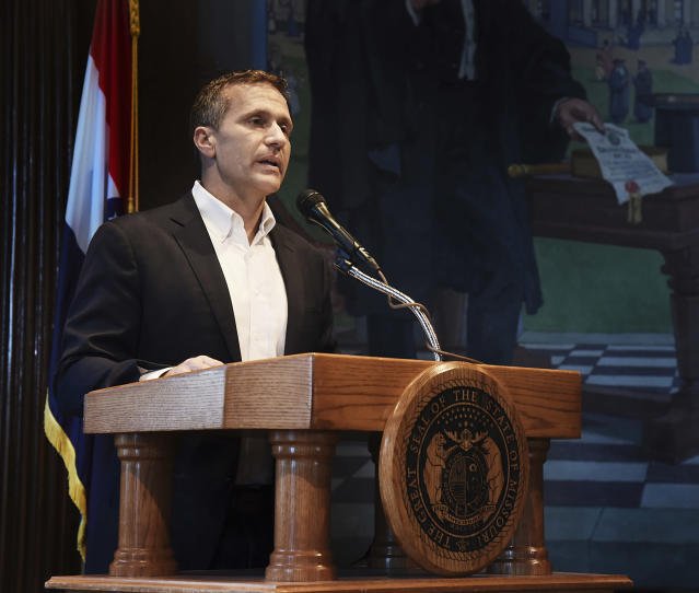 Missouri Gov. Eric Greitens announces his resignation during a hastily called press conference, May 29, 2018. (Photo: News Tribune/Julie Smith/AP)