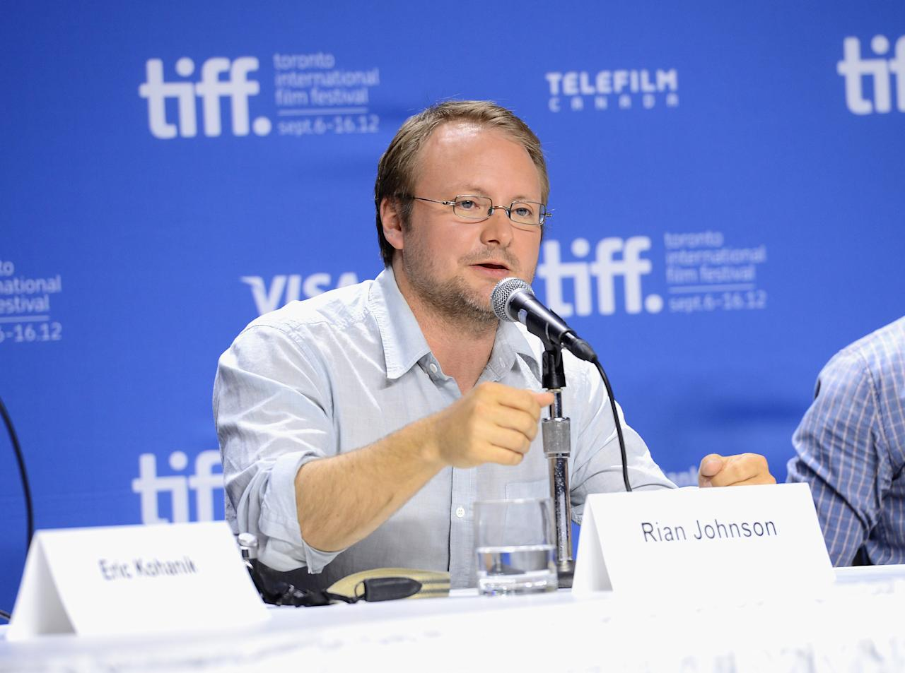 "TORONTO, ON - SEPTEMBER 06:  Director Rian Johnson speaks onstage at the ""Looper"" press conference during the 2012 Toronto International Film Festival at TIFF Bell Lightbox on September 6, 2012 in Toronto, Canada.  (Photo by Jason Merritt/Getty Images)"