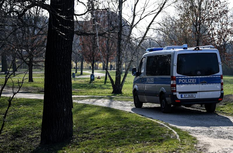 26 March 2020, Berlin: A police emergency vehicle is parked in the Silesian bush. Photo: Britta Pedersen/dpa-Zentralbild/dpa (Photo by Britta Pedersen/picture alliance via Getty Images)