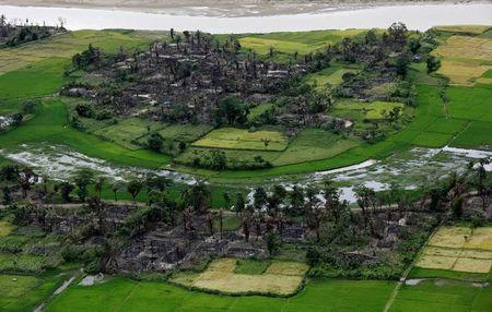 FILE PHOTO - Aerial view of a burned Rohingya village near Maungdaw, north of Rakhine State, Myanmar, September 27, 2017. REUTERS/Soe Zeya Tun/File Photo
