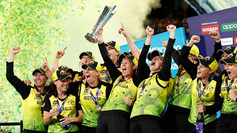 The Aussies celebrate their fifth Women's T20 World Cup title. Pic: Getty
