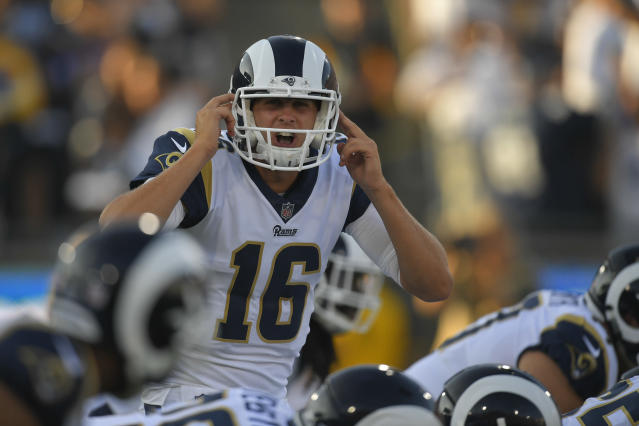 "<a class=""link rapid-noclick-resp"" href=""/nfl/players/29235/"" data-ylk=""slk:Jared Goff"">Jared Goff</a> played less than half a quarter in his 2017 preseason debut. (AP Photo/Mark J. Terrill)"