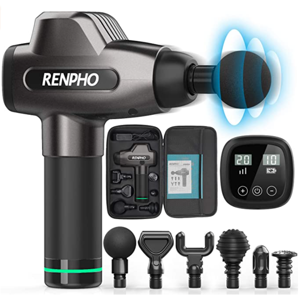 RENPHO Massage Gun with its changeable heads
