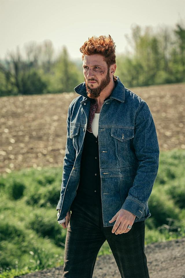 <p>Pablo Schreiber as Mad Sweeney in Starz's <i>American Gods</i>.<br><br>(Photo: Starz) </p>