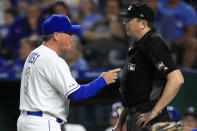 Kansas City Royals manager Ned Yost (3) argues with home plate umpire Lance Barrett, right, during the eighth inning of the team's baseball game against the Houston Astros at Kauffman Stadium in Kansas City, Mo., Friday, Sept. 13, 2019. (AP Photo/Orlin Wagner)