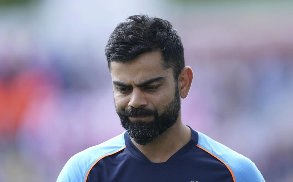 India's captain Virat Kohli reacts during the presentation ceremony after their loss on the fourth day of third test cricket match between England and India, at Headingley cricket ground in Leeds, England, Saturday, Aug. 28, 2021. (AP Photo/Jon Super)